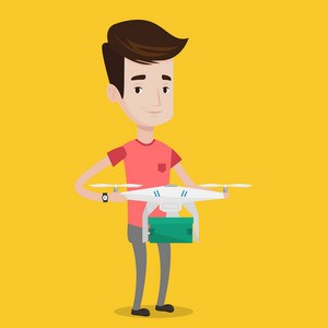Caucasian man controlling delivery drone with post package. Young man getting post package from delivery drone. Man sending parcel with delivery drone. Vector flat design illustration. Square layout.