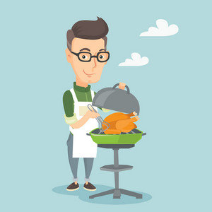 Caucasian man cooking chicken on barbecue grill outdoors. Smiling man having a barbecue party outdoor. Happy man preparing chicken on barbecue grill. Vector flat design illustration. Square layout.