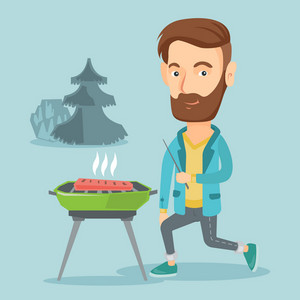 Caucasian man cooking steak on barbecue grill outdoors. Young man sitting next to barbecue grill in the park. Smiling man having a barbecue party. Vector flat design illustration. Square layout.