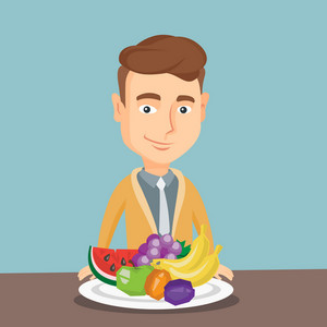 Caucasian man eating fresh healthy fruits. Young friendly man standing in front of table woth fresh fruits. Smiling man with plate full of fruits. Vector flat design illustration. Square layout.