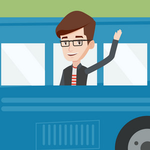 Caucasian man enjoying his trip by bus. Man waving from bus. Passenger waving hand from bus window. Tourist peeking out of bus window and waving hand. Vector flat design illustration. Square layout.