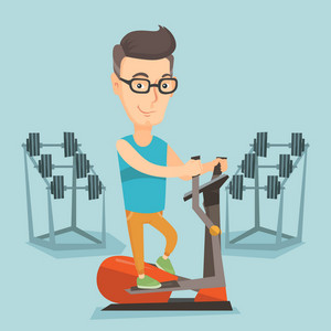 Caucasian man exercising on elliptical trainer. Man working out using elliptical trainer in the gym. Man doing exercises on elliptical trainer. Vector flat design illustration. Square layout.