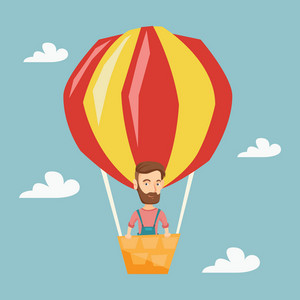 Caucasian man flying in a hot air balloon. Man standing in the basket of hot air balloon. Man traveling in hot air balloon. Man riding a hot air balloon. Vector flat design illustration. Square layout