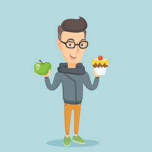 Caucasian man holding apple and cupcake in hands. Man choosing between apple and cupcake. Concept of choice between healthy and unhealthy nutrition. Vector flat design illustration. Square layout