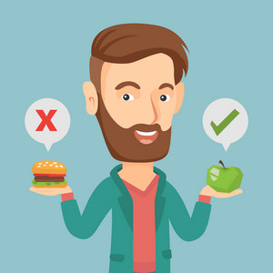 Caucasian man holding apple and hamburger in hands. Man choosing between apple and hamburger. Man choosing between healthy and unhealthy nutrition. Vector flat design illustration. Square layout.