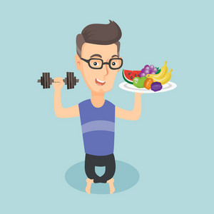 Caucasian man holding healthy fruits and dumbbell. Healthy sportsman with fruits and dumbbell. Man choosing healthy lifestyle. Healthy lifestyle concept. Vector flat design illustration. Square layout