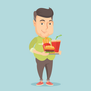 Caucasian man holding tray with fast food. Young man having a lunch in a fast food restaurant. Happy man with fast food. Unhealthy nutrition concept. Vector flat design illustration. Square layout.