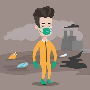 Caucasian man in gas mask and radiation protective suit standing on the background of nuclear power plant. Man on background of oil spill and dead fish. Vector flat design illustration. Square layout.