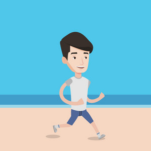 Caucasian man jogging on the beach. Sporty male athlete running on the beach. Young man running along the seashore. Fit man enjoying jogging on beach. Vector flat design illustration. Square layout.
