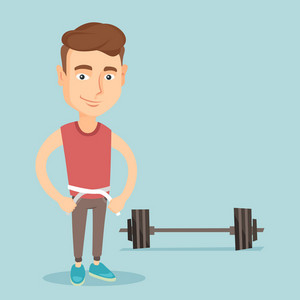 Caucasian man measuring waistline with a tape. Man measuring with tape the waistline. Happy man with centimeter on a waistline standing near a barbell. Vector flat design illustration. Square layout.