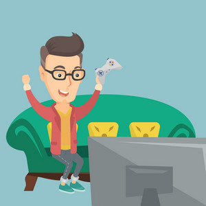 Caucasian man playing video game. An excited young man with console in hands playing video game at home. Man celebrating his victory in video game. Vector flat design illustration. Square layout.