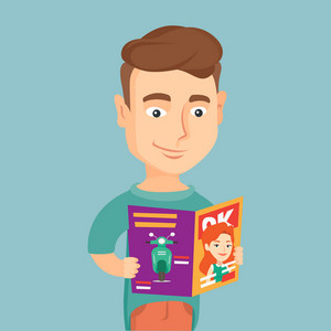 Caucasian man reading a magazine. Young man standing with magazine in hands. Man holding a magazine. Happy man reading good news in a magazine. Vector flat design illustration. Square layout.