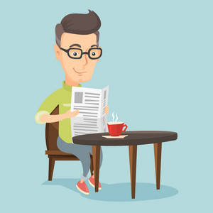 Caucasian man reading newspaper in a cafe. Adult smiling man reading the news in newspaper. Man sitting with newspaper in hands and drinking coffee. Vector flat design illustration. Square layout.