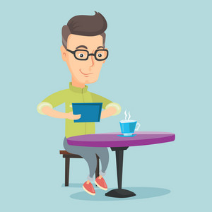 Caucasian man using a tablet computer in a cafe. Man surfing in the social network. Man rewriting in social network in a cafe. Social network concept. Vector flat design illustration. Square layout.