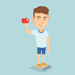Caucasian man with apple in hand weighing after diet. Man satisfied with the result of his diet. Man on a diet. Dieting and healthy lifestyle concept. Vector flat design illustration. Square layout.