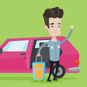Caucasian man with suitcase standing on the background of open car door. Man traveling by car. Man waving in front of car. Man going to vacation by car. Vector flat design illustration. Square layout.