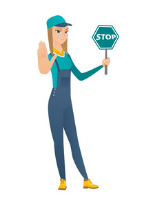 Caucasian mechanic showing stop road sign. Full length of young mechanic holding stop road sign. Serious mechanic with stop road sign. Vector flat design illustration isolated on white background.