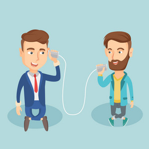 Caucasian men discussing something using tin can telephone. Hipster man getting message from friend on tin can phone. Friends talking through a tin phone. Vector flat design illustration Square layout
