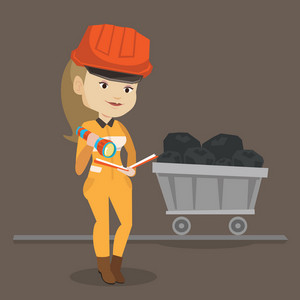 Caucasian miner checking documents with the flashlight on the background of trolley with coal. Mine worker in hard hat. Female miner in the coal mine. Vector flat design illustration. Square layout.