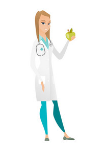 Caucasian nutritionist prescribing diet and healthy eating. Smiling nutritionist holding an apple. Young nutritionist offering an apple. Vector flat design illustration isolated on white background.