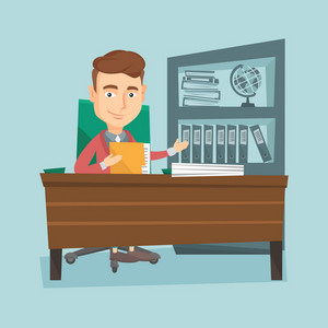 Caucasian office worker working with documents. Young office worker sitting at the table with documents. Smiling office worker inspecting documents. Vector flat design illustration. Square layout.