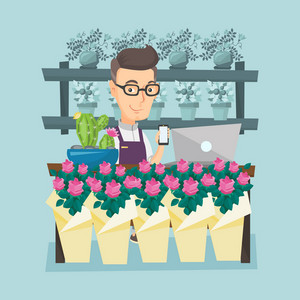 Caucasian owner of flower shop using phone and laptop to take order. Owner of flower shop standing behind the counter. Owner of flower shop at work. Vector flat design illustration. Square layout.