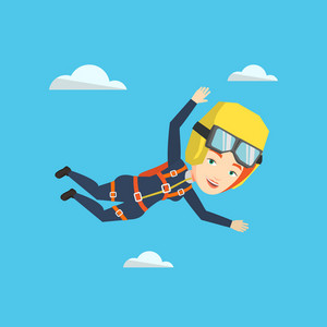 Caucasian parachutist jumping with parachute. Professional female parachutist falling through the air. Happy young woman flying with parachute in clouds. Vector flat design illustration. Square layout