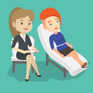 Caucasian patient lying on sofa and talking about problems with psychotherapist or psychologist. Psychologist having session with patient in depression. Vector flat design illustration. Square layout.