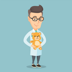 Caucasian pediatrician doctor in medical gown. An adult pediatrician doctor holding a teddy bear. Pediatrician doctor standing with a teddy bear. Vector flat design illustration. Square layout.