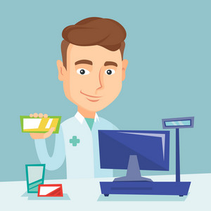 Caucasian pharmacist holding a box of pills. Young pharmacist in medical gown standing at the counter in the pharmacy. Pharmacist showing some medicine. Vector flat design illustration. Square layout.
