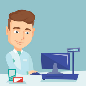 Caucasian pharmacist in medical gown standing at the pharmacy counter. Friendly pharmacist in the drugstore. Young pharmacist working on a computer. Vector flat design illustration. Square layout.