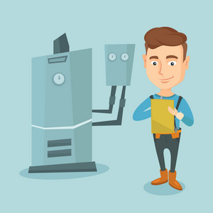 Caucasian plumber making some notes in his clipboard. Plumber inspecting heating system in boiler room. Friendly plumber in overalls at work. Vector flat design illustration. Square layout.