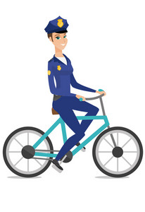 Caucasian police officer on bicycle. Young police officer riding bicycle. Police officer in charge of the order and safety with bicycle. Vector flat design illustration isolated on white background.