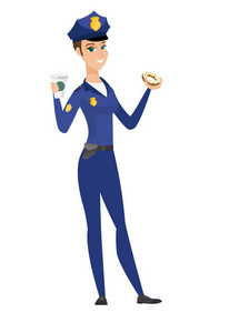 Caucasian police woman in uniform eating donut and drinking coffee. Full length of police woman with donut and cup of coffee in hands. Vector flat design illustration isolated on white background.