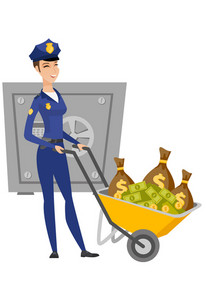 Caucasian police woman pushing wheelbarrow with confiscated money. Police woman ensuring the safety of the confiscated money in the safe. Vector flat design illustration isolated on white background.