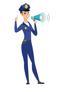 Caucasian police woman with loudspeaker making an announcement. Full length of police woman making an announcement through a loudspeaker. Vector flat design illustration isolated on white background.