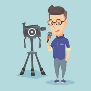 Caucasian reporter with microphone standing on the background with camera. Young smiling TV reporter presenting the news. TV transmission with reporter. Vector flat design illustration. Square layout.