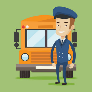 Caucasian school bus driver standing in front of yellow bus. Smiling school bus driver in uniform. Cheerful school bus driver. Happy school bus driver. Vector flat design illustration. Square layout.