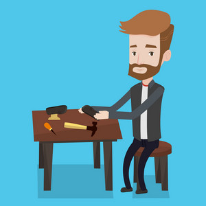 Caucasian shoemaker working with a shoe in workshop. Hipster shoemaker repairing a shoe in workshop. Young shoemaker making handmade shoes in workshop. Vector flat design illustration. Square layout.