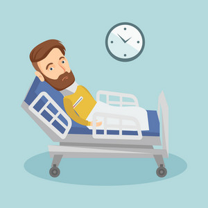 Caucasian sick man with fever laying in bed. Young sick man measuring temperature with thermometer. Sick man suffering from cold or flu virus. Vector flat design illustration. Square layout.