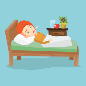 Caucasian sick woman with fever laying in bed. Sick woman measuring temperature with thermometer in mouth. Sick woman suffering from cold or flu virus. Vector flat design illustration. Square layout.