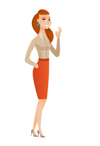 Caucasian smiling business woman showing ok sign. Young happy business woman making ok sign. Successful business woman gesturing ok sign. Vector flat design illustration isolated on white background.