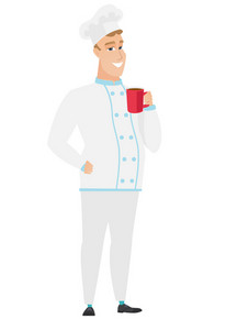 Caucasian smiling chef cook holding cup of coffee. Full length of chef cook in uniform drinking coffee. Happy chef cook with cup of coffee. Vector flat design illustration isolated on white background