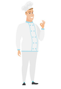 Caucasian smiling chef cook in uniform showing ok sign. Cheerful chef cook making ok sign. Successful happy chef cook gesturing ok sign. Vector flat design illustration isolated on white background.