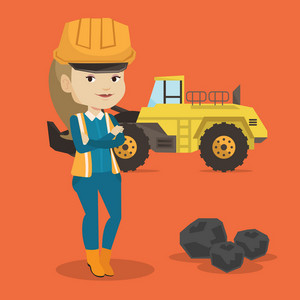 Caucasian smiling female miner in hard hat standing on the background of a big excavator. Confident female miner with crossed arms standing near coal. Vector flat design illustration. Square layout.