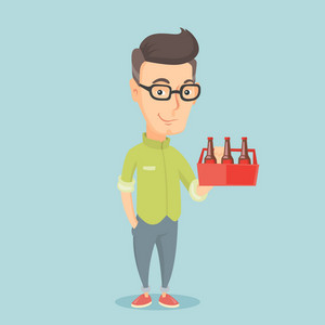 Caucasian smiling man buying beer. Happy man holding pack of beer. Full length of cheerful man carrying a six pack of beer. Vector flat design illustration. Square layout.