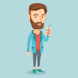 Caucasian smiling man holding cocktail glass with drinking straw. Joyful man drinking a cocktail. Young happy man celebrating with a cocktail. Vector flat design illustration. Square layout.