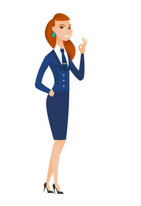 Caucasian smiling stewardess showing ok sign. Young cheerful stewardess making ok sign. Successful happy stewardess gesturing ok sign. Vector flat design illustration isolated on white background.