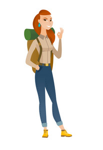 Caucasian smiling traveler woman showing ok sign. Young cheerful traveler making ok sign. Successful happy traveler gesturing ok sign. Vector flat design illustration isolated on white background.