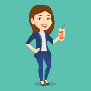 Caucasian smiling woman holding cocktail glass with drinking straw. Joyful woman drinking a cocktail. Young happy woman celebrating with a cocktail. Vector flat design illustration. Square layout.